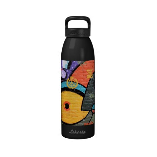 wall graffiti eyes Peace and Love message bottle Water Bottle