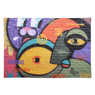 wall graffiti eyes Peace and Love message Cloth Placemat
