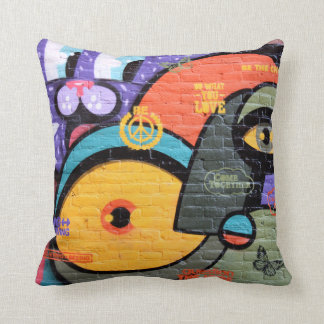 wall graffiti eyes Peace and Love message pillow