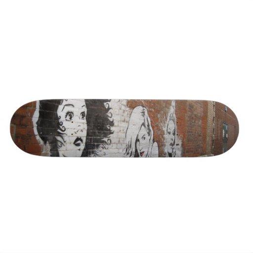 Wall Graffiti Sexy Snow Bunny Girl Skate Board