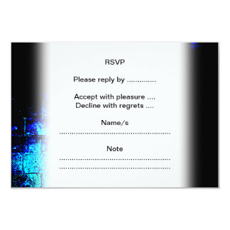 Wall Image in Blue and Black. Digital Art. 3.5x5 Paper Invitation Card
