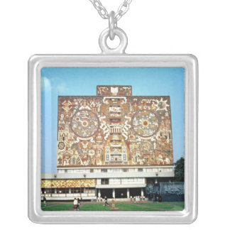 Wall mosaic on the facade of the Central Library Silver Plated Necklace
