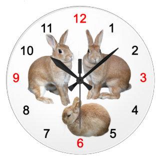 Wall-mounted clock of 3 rabbits