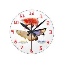 Wall-mounted clock of ajiaarowana of 3 types