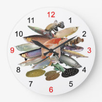 Wall-mounted clock of large-sized tropical fish