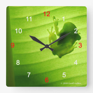 Wall-mounted clock of silhouette of frog