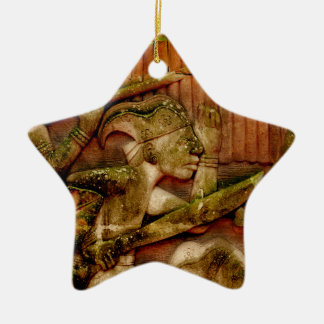 WALL MURAL AT FORT CANNING SINGAPORE Double-Sided STAR CERAMIC CHRISTMAS ORNAMENT
