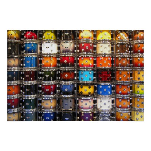 Wall of drums matte poster