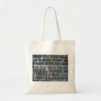 Wall Of Grungy Black Brick Budget Tote Bag
