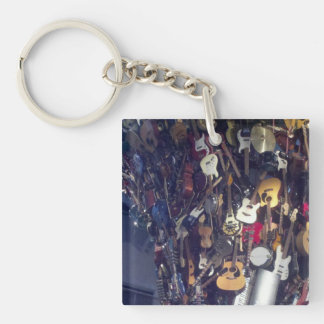 Wall of Guitars Single-Sided Square Acrylic Keychain
