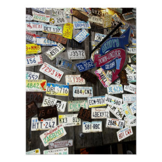 Wall of License Plates Poster