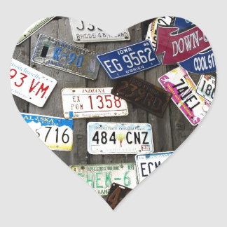 Wall of License Plates Heart Sticker