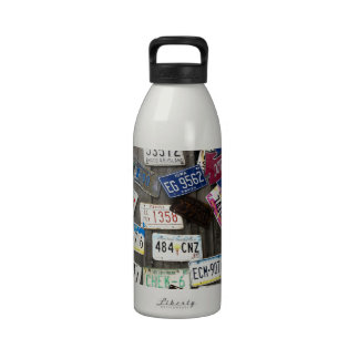 Wall of License Plates Drinking Bottle