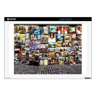 """Wall of pictures on a sidewalk skin for 17"""" laptop"""