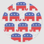 Wall of Republican Elephants Classic Round Sticker