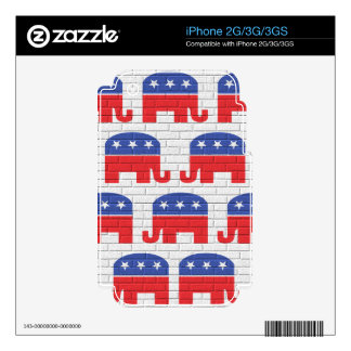 Wall of Republican Elephants Decals For iPhone 3G