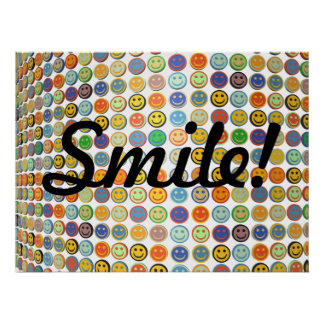 Wall of smiling faces poster
