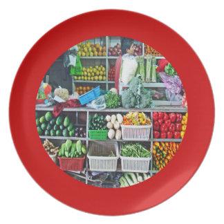 Wall of Stacks of Veggies in Cubes Art Mercado Dinner Plate