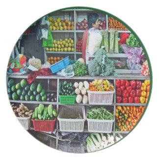 Wall of Stacks of Veggies in Cubes Art Mercado Melamine Plate