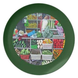 Wall of Stacks of Veggies in Cubes Art Mercado Plate