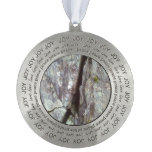 wall of stone round pewter ornament