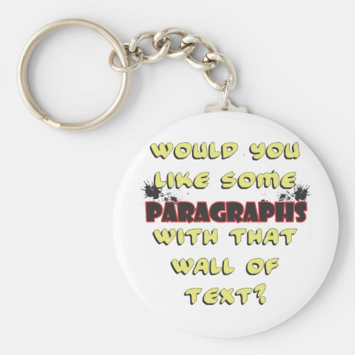 wall of text keychain