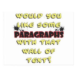 wall of text postcard