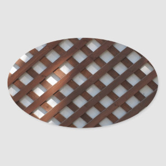Wall of the building covered wooden planks crosswi oval sticker