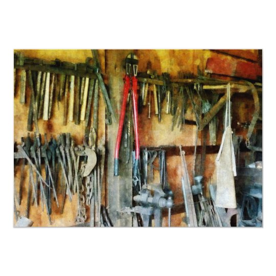 Wall of Tools and Shop Apron Card