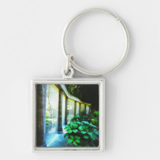 Wall of Water in Garden Paradise Silver-Colored Square Keychain