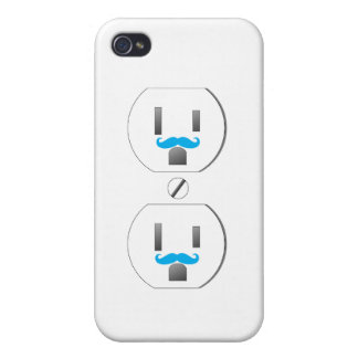 Wall Outlet w/Blue Mustache Design iPhone 4/4s iPhone 4 Covers