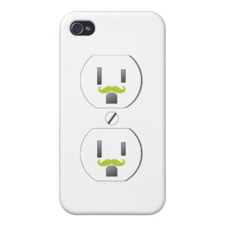 Wall Outlet w/Green Mustache Design iPhone 4/4s Case For iPhone 4