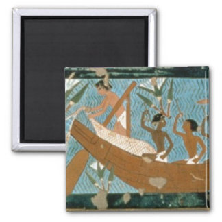 Wall painting from the tomb of Ipuy, Thebes, depic 2 Inch Square Magnet