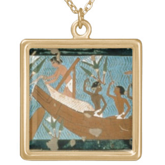 Wall painting from the tomb of Ipuy, Thebes, depic Gold Plated Necklace