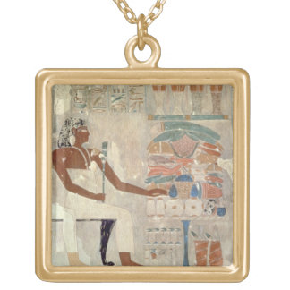 Wall painting from the tomb of Rekhmire, Thebes, d Gold Plated Necklace
