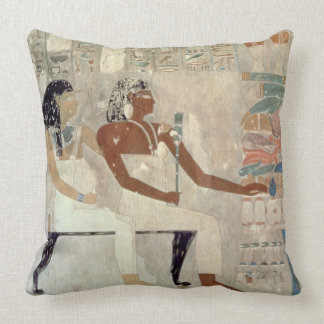 Wall painting from the tomb of Rekhmire Thebes d Throw Pillow
