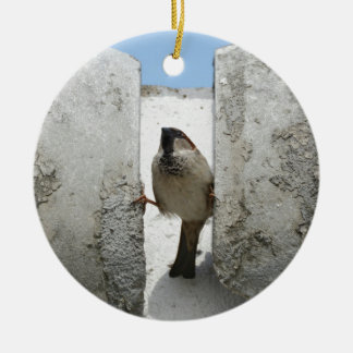 Wall sparrow ceramic ornament