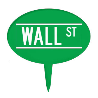 Wall St., New York Street Sign Cake Toppers