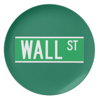 Wall St., New York Street Sign Party Plates