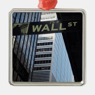 Wall Street Adorno Navideño Cuadrado De Metal