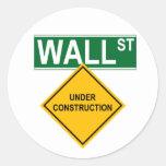 Wall Street bajo construcción Pegatinas Redondas