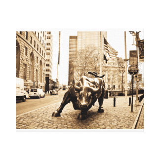 """Wall Street Bull "" Impresión En Tela"