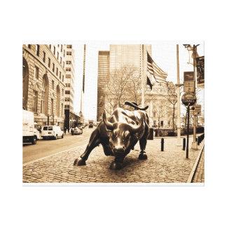 """Wall Street Bull "" Lienzo Envuelto Para Galerias"
