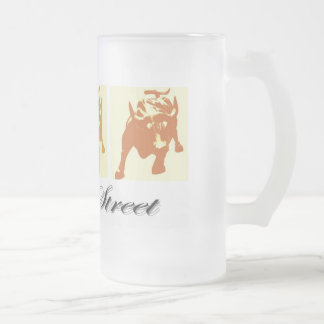 Wall Street Bull Market Frosted Glass Beer Mug