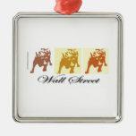 Wall Street Bull Market Square Metal Christmas Ornament