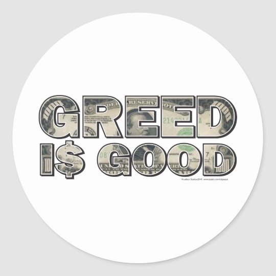 Wall Street/ Greed is Good Classic Round Sticker