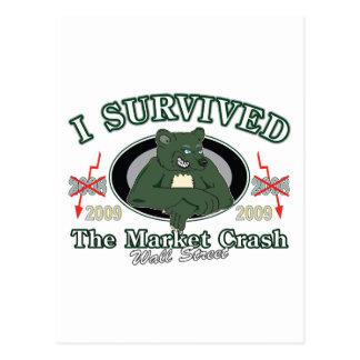 Wall-street/I Survived the Market Crash Postcard
