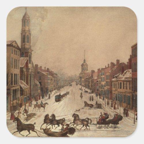 Wall Street in Winter Square Sticker