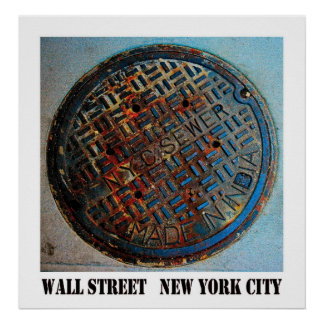 Wall Street Manhole by Urban59 Studio Poster