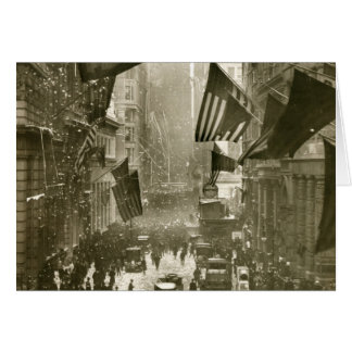 Wall Street Party, end of WW1, 1918 Card